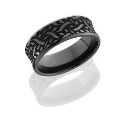 Z8CB BLCVESCHER2 250x243 - Zirconium 8mm Concave Band with Beveled Edges and Laser Carved Escher Pattern