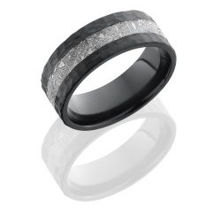 Z8F13 METEORITE 250x243 - Zirconium 8mm Flat Band with 3mm Meteorite inlay