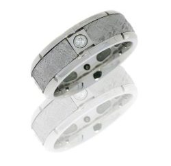 cc8b4seg meteorite4x07b polish 250x243 - Cobalt Chrome Flat Band with Four Meteorite Segments and Diamonds