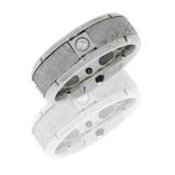 cc8b4seg meteorite4x07b polish - Cobalt Chrome Flat Band with Four Meteorite Segments and Diamonds