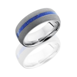 cc8d12 lapis sandblast - Cobalt Chrome 8mm Domed Band with 2mm Lapis inlay