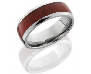 hw8d15redheart polish 300x243 - Titanium Domed Band with Honduras Redheart Wood inlay