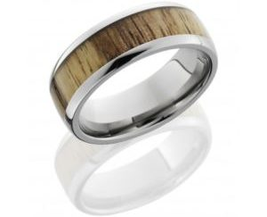 hw8d15tamarind polish 300x243 - Titanium Domed Band with Spalted Tamarind Wood Inlay