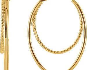 sts86059 300x243 - 14K Yellow Oval Hoop Earrings