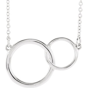 sts86742w - Interlocking Circle Necklace