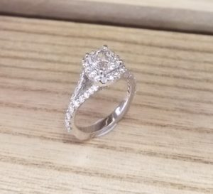 Split-Shank Cushion Halo Diamond Ring