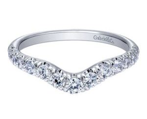 Gabriel 14k White Gold Contemporary Curved Anniversary BandAN10969W44JJ 11 300x243 - 14k White Gold Round Straight Diamond Engagement Ring