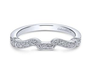 Gabriel 14k White Gold Contemporary Curved Wedding BandWB7531W44JJ 11 300x243 - 14k Round Curved Diamond Wedding Band