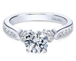 Gabriel 14k White Gold Round 3 Stones Engagement RingER3993W44JJ 11 300x243 - 14k White Gold Round 3 Stones Diamond Engagement Ring