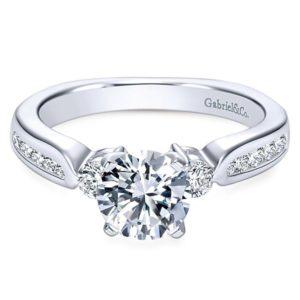 Gabriel 14k White Gold Round 3 Stones Engagement RingER3993W44JJ 11 - 14k White Gold Round 3 Stones Diamond Engagement Ring