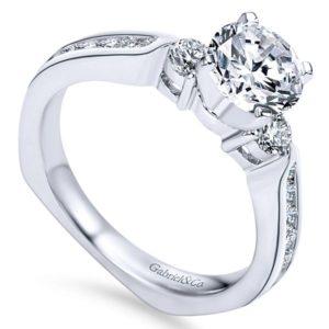 Gabriel 14k White Gold Round 3 Stones Engagement RingER3993W44JJ 31 - 14k White Gold Round 3 Stones Diamond Engagement Ring