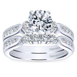 Gabriel 14k White Gold Round 3 Stones Engagement RingER3993W44JJ 41 - 14k White Gold Round 3 Stones Diamond Engagement Ring