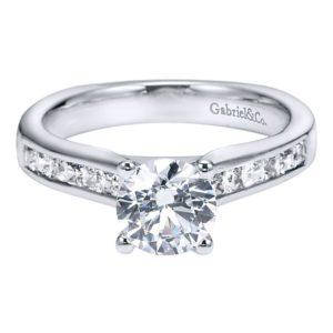 Gabriel 14k White Gold Round Straight Engagement RingER3965W44JJ 11 - 14k White Gold Round Straight Diamond Engagement Ring