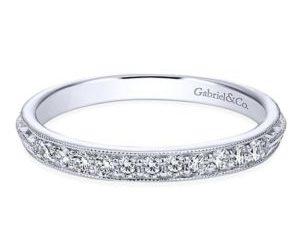 Gabriel 14k White Gold Victorian Straight Wedding BandWB6707W44JJ 11 300x243 - Vintage 14k White Gold Round Straight Diamond Wedding Band
