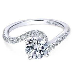 Gabriel Adina 14k White Gold Round Bypass Engagement RingER7232W44JJ 11 - 14k White Gold Round Bypass Diamond Engagement Ring