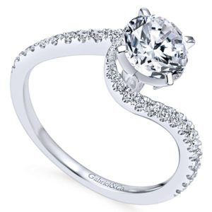 Gabriel Adina 14k White Gold Round Bypass Engagement RingER7232W44JJ 31 - 14k White Gold Round Bypass Diamond Engagement Ring