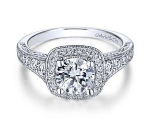 Gabriel Florence 14k White Gold Round Halo Engagement RingER7293W44JJ 11 300x243 - Vintage 14k White Gold Round Halo Diamond Engagement Ring