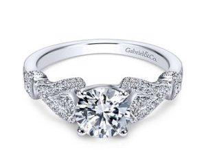 Gabriel Lucille 14k White Gold Round Straight Engagement RingER7531W44JJ 11 300x243 - Vintage 14k Round Straight Diamond Engagement Ring
