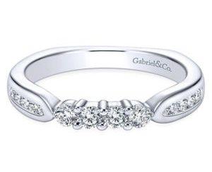 Gabriel Platinum Contemporary Straight Wedding BandWB3993PT4JJ 11 300x243 - 14k White Gold Round 3 Stones Diamond Engagement Ring