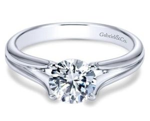 Gabriel Selah 14k White Gold Round Solitaire Engagement RingER7516W4JJJ 11 300x243 - 14k Round Solitaire Engagement Ring
