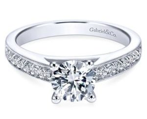 Gabriel Tess 14k White Gold Round Straight Engagement RingER3858W44JJ 11 300x243 - 14k White Gold Cushion Cut Straight Engagement Ring