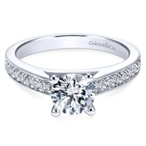Gabriel Tess 14k White Gold Round Straight Engagement RingER3858W44JJ 11 - Vintage 14k White Gold Round Straight Diamond Engagement Ring