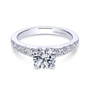 Gabriel Wyatt 14k White Gold Round Straight Engagement RingER3950W44JJ 11 1 - 14k White Gold Round Straight Diamond Engagement Ring