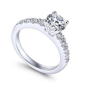 Gabriel Wyatt 14k White Gold Round Straight Engagement RingER3950W44JJ 31 1 - 14k White Gold Round Straight Diamond Engagement Ring