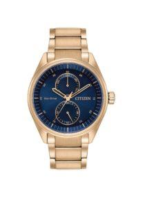 largermenwatch e1513820049877 - Mens Rose-Tone Blue Dial Citizen Eco-Drive Watch