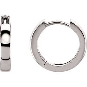 sts20007w - 14K White 14mm Hinged Hoop Earrings