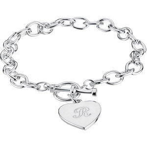 stsbrc276 - Cable Toggle Bracelet 7mm with Heart Charm