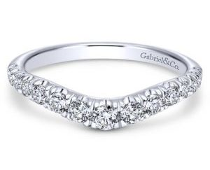 Gabriel 14k White Gold Contemporary Curved Anniversary BandAN10958W44JJ 11 300x243 - 14k White Gold Round Fancy Diamond Anniversary Band