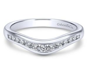 Gabriel 14k White Gold Contemporary Curved Anniversary BandAN10962W44JJ 11 300x243 - 14k White Gold Round Curved Diamond Anniversary Band
