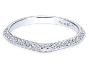 Gabriel 14k White Gold Contemporary Curved Wedding BandWB6286W44JJ 11 300x243 - 14k White Gold Curved Diamond Wedding Band