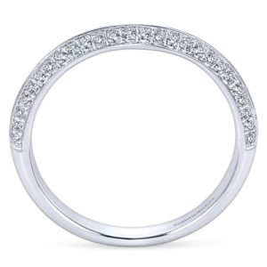 Gabriel 14k White Gold Contemporary Curved Wedding BandWB6286W44JJ 21 - 14k White Gold Curved Diamond Wedding Band
