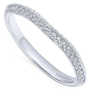 Gabriel 14k White Gold Contemporary Curved Wedding BandWB6286W44JJ 31 - 14k White Gold Curved Diamond Wedding Band