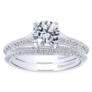 Gabriel 14k White Gold Contemporary Curved Wedding BandWB6286W44JJ 41 - 14k White Gold Curved Diamond Wedding Band