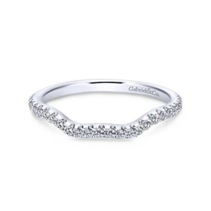 Gabriel 14k White Gold Contemporary Curved Wedding BandWB7544W44JJ 11 - 14k White Gold Curved Diamond Wedding Band