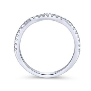 Gabriel 14k White Gold Contemporary Curved Wedding BandWB7544W44JJ 21 - 14k White Gold Curved Diamond Wedding Band