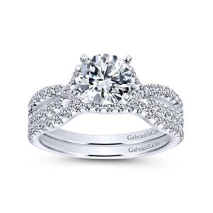 Gabriel 14k White Gold Contemporary Curved Wedding BandWB7544W44JJ 41 - 14k White Gold Curved Diamond Wedding Band