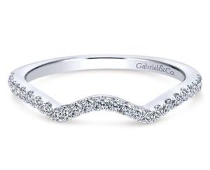 Gabriel 14k White Gold Contemporary Curved Wedding BandWB7546W44JJ 11 300x243 - Diamond Milgrain Band