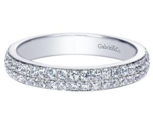 Gabriel 14k White Gold Contemporary Fancy Anniversary BandAN7662W44JJ 11 300x243 - 14k White Gold Round Fancy Diamond Anniversary Band