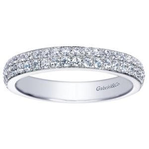 Gabriel 14k White Gold Contemporary Fancy Anniversary BandAN7662W44JJ 51 - 14k White Gold Round Fancy Diamond Anniversary Band