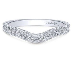 Gabriel 14k White Gold Victorian Curved Wedding BandWB8794W44JJ 11 300x243 - Vintage 14k White Gold Round Curved Diamond Wedding Band