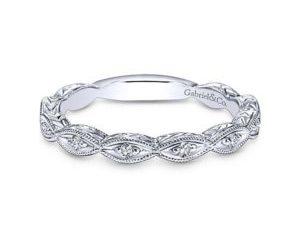 Gabriel 14k White Gold Victorian Straight Wedding BandWB4122W44JJ 11 300x243 - Vintage 14k White Gold Round Straight Diamond Wedding Band