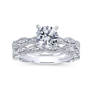 Gabriel 14k White Gold Victorian Straight Wedding BandWB4122W44JJ 41 - Vintage 14k White Gold Round Straight Diamond Wedding Band