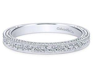 Gabriel 14k White Gold Victorian Straight Wedding BandWB6636W44JJ 11 300x243 - Vintage 14k White Gold Round Straight Diamond Wedding Band