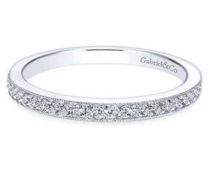 Gabriel 14k White Gold Victorian Straight Wedding BandWB7528W44JJ 11 300x243 - Vintage 14k White Gold Round Straight Diamond Wedding Band