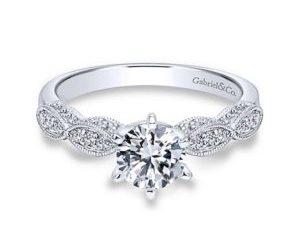 Gabriel Clara 14k White Gold Round Straight Engagement RingER3848W44JJ 11 300x243 - Vintage 14k White Gold Round Straight Diamond Engagement Ring