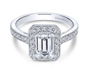 Gabriel Corinne 14k White Gold Emerald Cut Halo Engagement RingER7528W44JJ 11 300x243 - Vintage 14k White Gold Emerald Cut Halo Diamond Engagement Ring